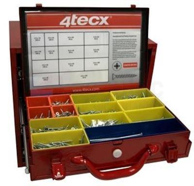 4Tecx spaanplaatschroef platkop Assortimentskoffer