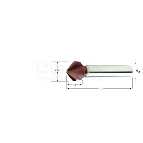 Dormer HSS-Co AlTiCN gecoate verzinkboor 90°, DIN335C, oa. voor RVS